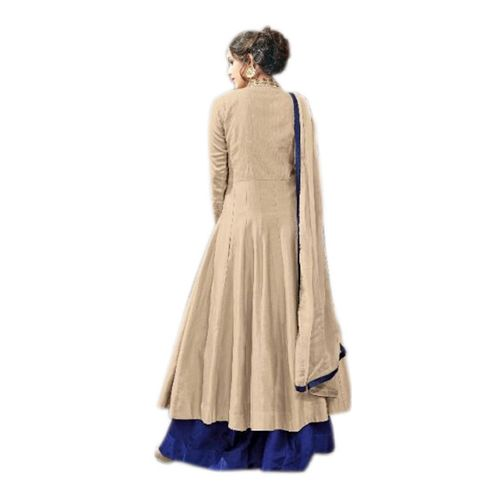 Aika Women's Kesari Cream Cotton Banglori Silk Indo Western Suit