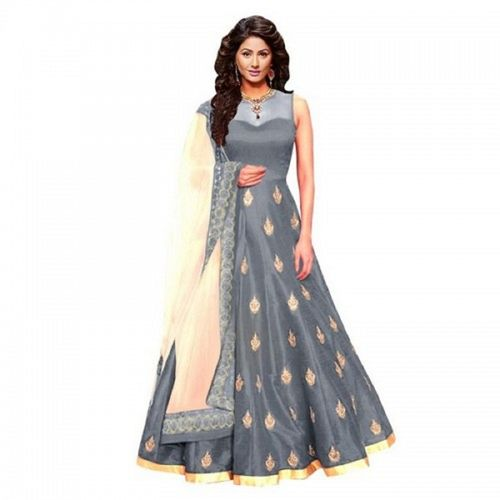 Aika Women's Grey Bangalory Anarkali Semi Stitched Gown