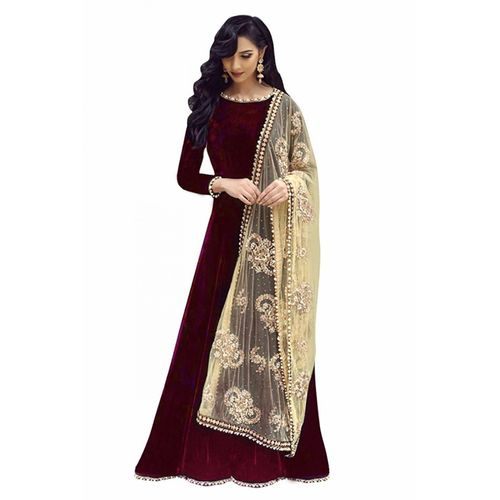 V-KARAN Vkaran Women's Maroon Taffeta Embroidered Stitched Gown
