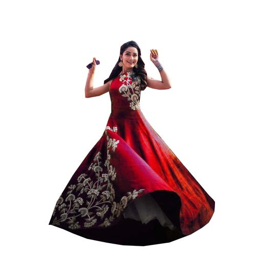 Traditional Taffeta silk maroon Gown By Oxza (s-51)