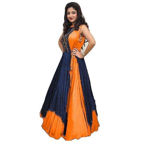V-KARAN Women's Bangalore Silk Orange Party Wear Designer Semi-stitched Gown