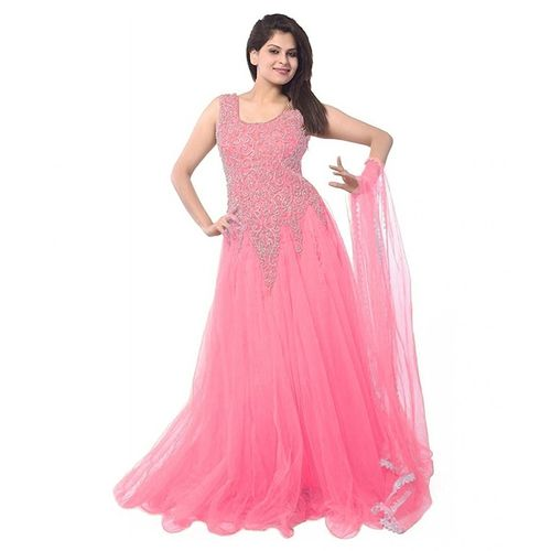 Florence Women's Light Pink Net Embroidered Semi Stitched Gown