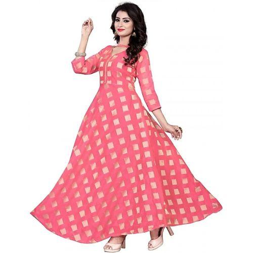 V-KARAN Vkaran Women's Pink Chanderi Printed Stitched Gown