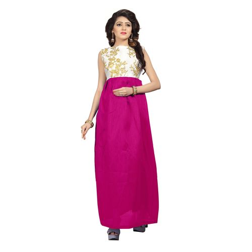 Florence woman's Pink Silk Embroidered Gown