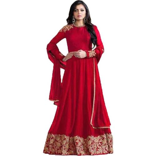 V-KARAN Vkaran Red Faux Georgette Embroidered Gown
