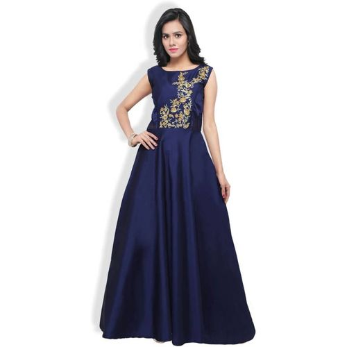 Florence Navy Blue Tafeta Silk Embroidered Gown
