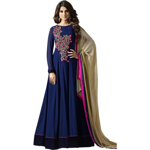 V-KARAN Vkaran Navy Blue Georgette Embroidered Gown