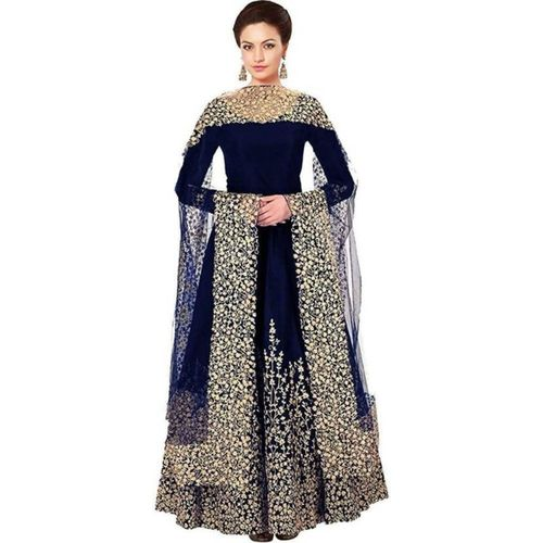 Florence Navy Blue Bangalore Silk Embroidered Gown