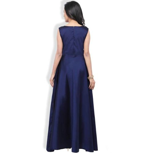 V-KARAN Vkaran Navy Blue Tafeta Silk Embroidered Gown