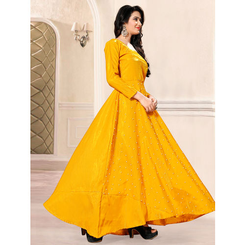 Greenvilla Designs Banglory Sattin Yellow Moti Work Bollywood Gown
