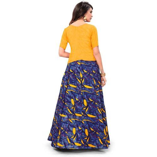 Florence Orange And Yellow Satin Printed Lehenga Choli