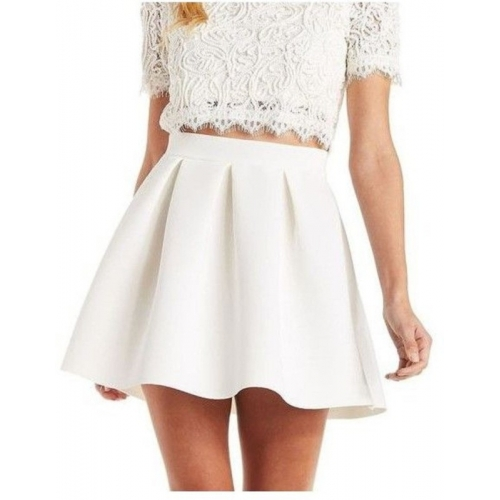 Magnus White Cotton Solid Regular Skirt