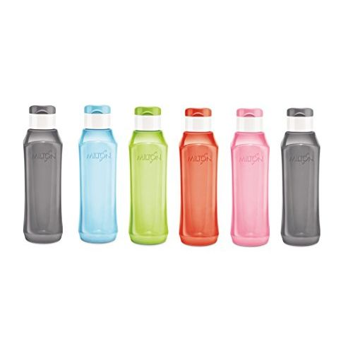Milton Pyramid Flip 1000ml Polypropylene Bottle Set, 6 Pieces Multi Color