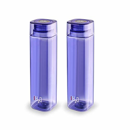 Cello H2O Squaremate Plastic Water Bottle, 1-Liter, Set of 2, Purple