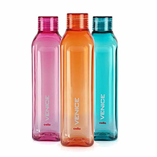 Cello Venice Plastic Water Bottle Set, 1 Litre, Set of 3, (Multicolor) (Assorted) by s h Homes mart & terdars
