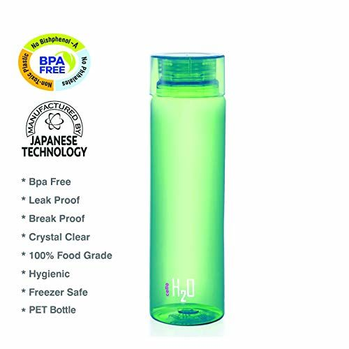 Cello H2O Round Plastic Water Bottle, 750ml, Set of 2, Green