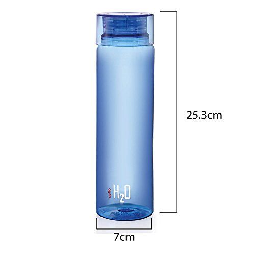 Cello H2O Unbreakable Plastic Bottle Set, 1 Litre, Set of 1, Multicolour,Colour may vary