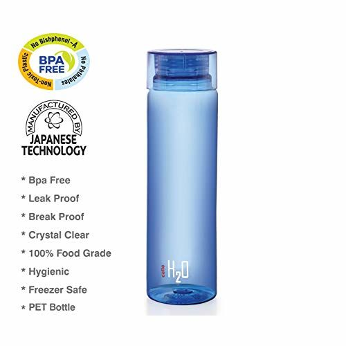 Cello H2O Round Plastic Water Bottle, 750ml, Set of 5, Blue