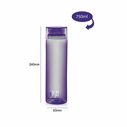 Cello H2O Round Plastic Water Bottle, 750ml, Set of 5, Purple