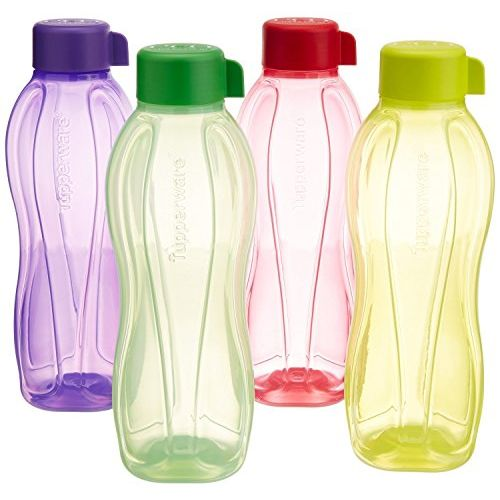 Tupperware Aqua Fresh BPA Free Plastic Water Bottle Set, 1 Litre, Set of 4, Multicolor