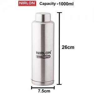 Nirlon Stainless Steel Water Bottle, 1 Litre, Silver (F_Bottle 1000ML)