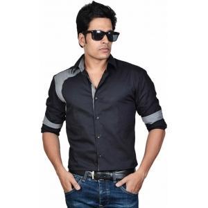 Dazzio Black Solid Cotton Casual Shirt