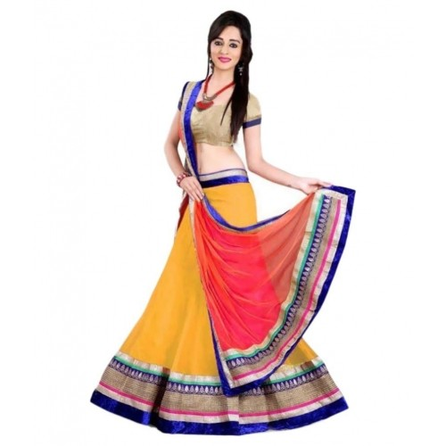 Tithi Texofab Yellow Net A-line Semi Stitched Lehenga