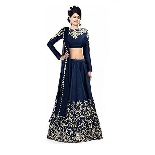 Prachi Desai Clickedia Navy Blue Embroidered Lehenga