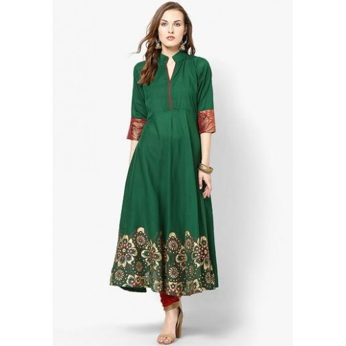 MBE Green Cotton Printed Mandarin Anarkali