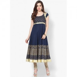MBE Navy Blue Printed Anarkali Kurta