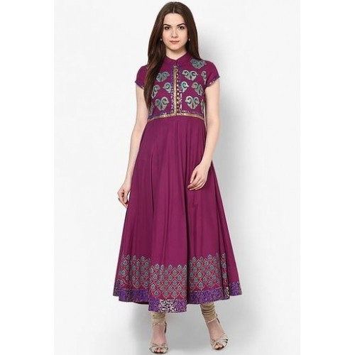 Purple Embellished Kurta