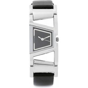 Titan NH2486SL03 Black Leather Analog Watch For Women
