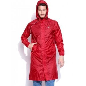 Wildcraft Men Red Hooded Rain Jacket