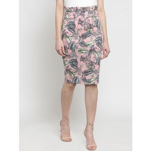Global Republic Women Pink & Grey Printed Pencil Skirt