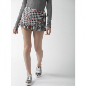 FOREVER 21 Black & White Checked Layered Skort