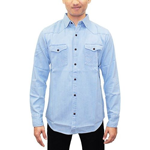 Southbay AA Men's Icewash Denim Casual Party Shirt Cum Jacket with Wooden Buttons
