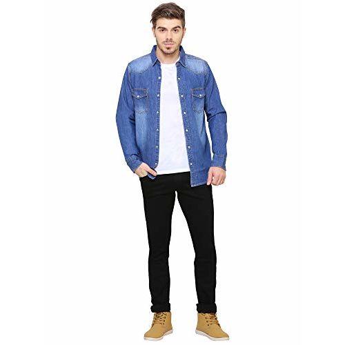 Southbay AA Men's Medium Blue Premium Denim Long Sleeve Party Casual Shirt Cum Jacket