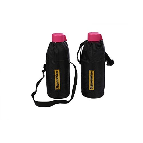 Signoraware Aqua Water Bottle with Bag Set, 1 Litre, Set of 2