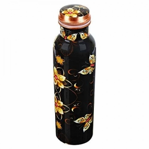 Ziyana Black Floral Printed Pure Copper Water Bottle 1000 ml