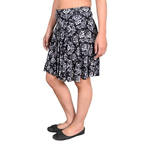 Krystle Women's Polyester Printed Short Skirts with Divider Shorts (Multicolour, Free Size)