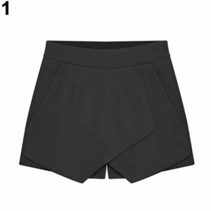 bigcity Women's Summer Sexy Casual Asymmetrical Front Candy Color Tulip Skort Shorts