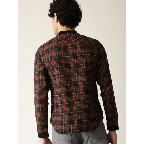 United Colors of Benetton Men Rust Orange & Black Slim Fit Checked Shacket