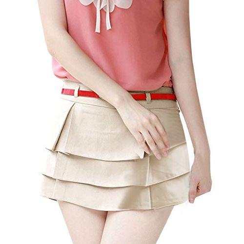 Allegra K XS (US 0) , Beige : Ladies Waistband Loop Zip Closure Tiered Belted Casual Pant Skort