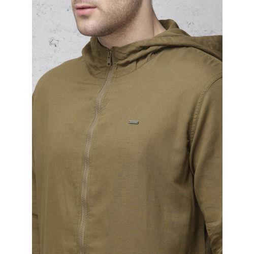 Ecko Unltd Men Olive Green Regular Fit Solid Hooded Shacket