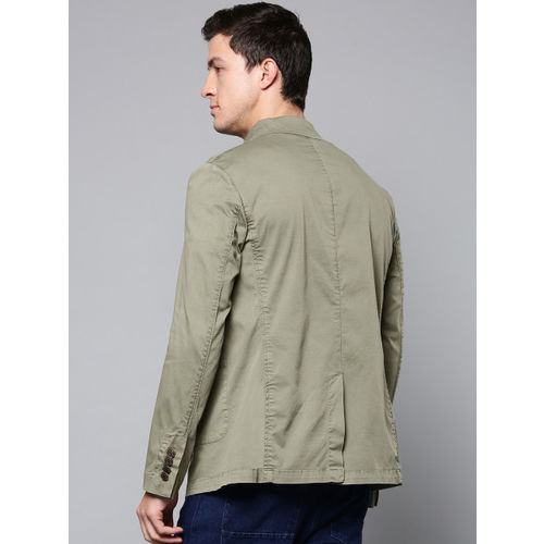 Blackberrys Men Olive Green Slim Fit Solid Shacket