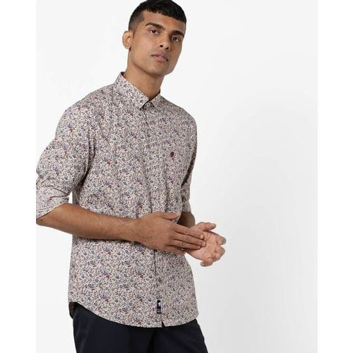 NETPLAY Floral Print Slim Fit Shirt with Patch Pocket