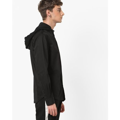 AJIO Hooded Shacket with Flap Pocket