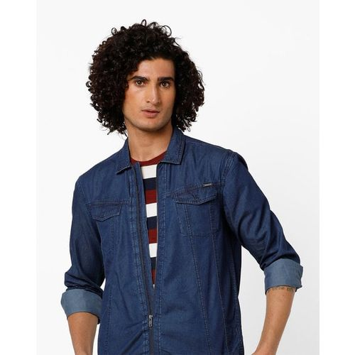 AJIO Panelled Slim Fit Shacket with Buttoned Flap Pockets