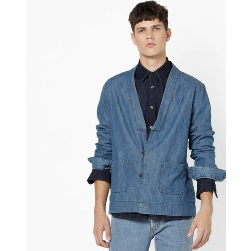 AJIO Denim Shacket with Deep V-neck