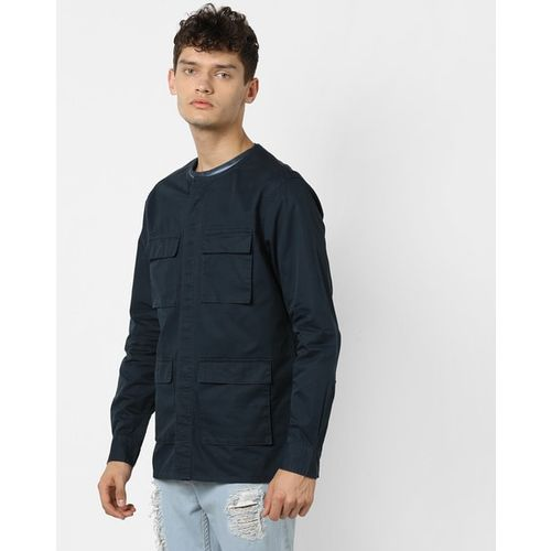 AJIO Shackets with Concealed Button Placket